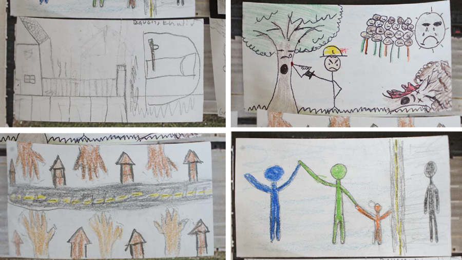 Artwork by children who participated in Tyler McDaniel's activity at Clara Barton Open School