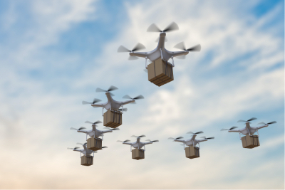 illustration flying drones carrying packages with cloudy sky in the background