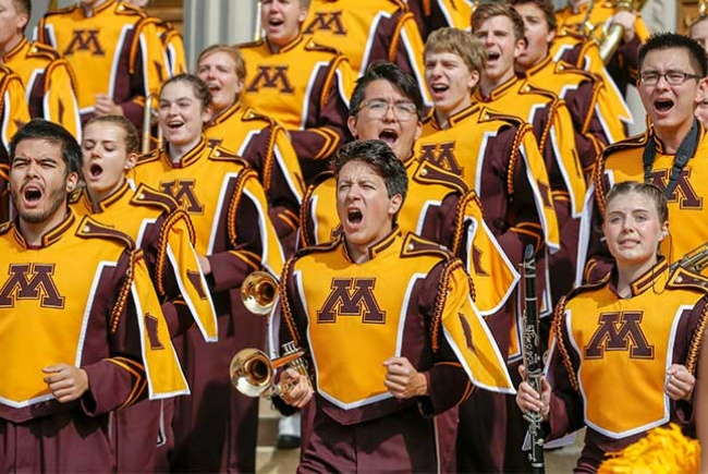 U of M marching band during a performance