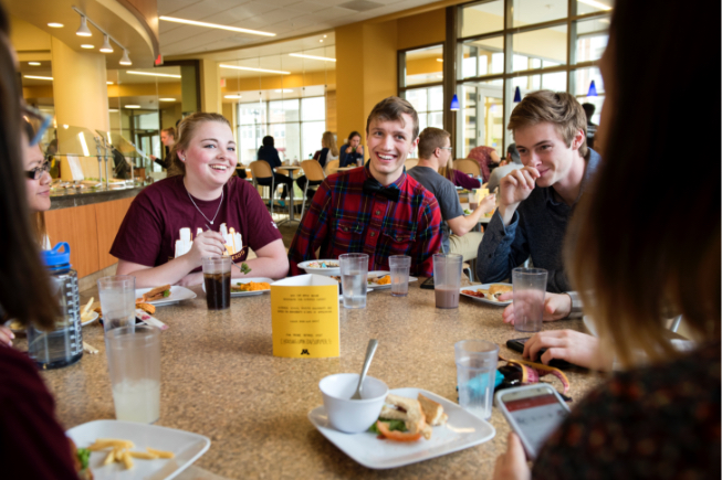 Students sitting around table in dining center