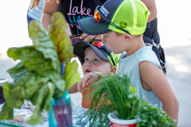 two small boys examining produce for sale, with leafy greens in the foreground