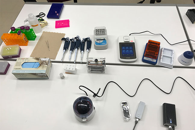 Some of the tools used by researchers to test the genetic material of ticks found in Itasca State Park.