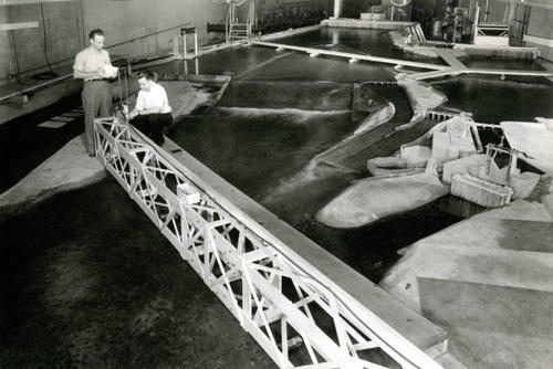 a 1:50 scale model of the Mississippi River on its model floor