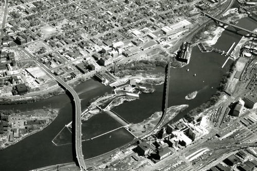 Aerial view of the Minneapolis waterfront in 1942.
