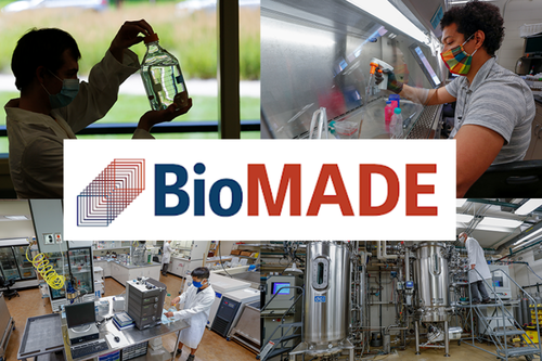 Four images of scientists in lab settings provide a quartered background behind the BioMADE workmark