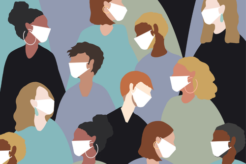 Illustrations of people wearing masks.