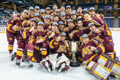 The Gopher men's hockey team after winning the Big Ten Tournament.