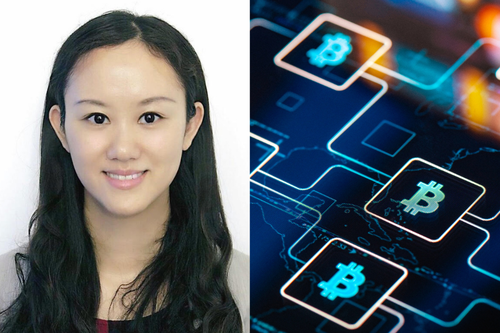 Vivian Fang on the left and cryptocurrency on the right.