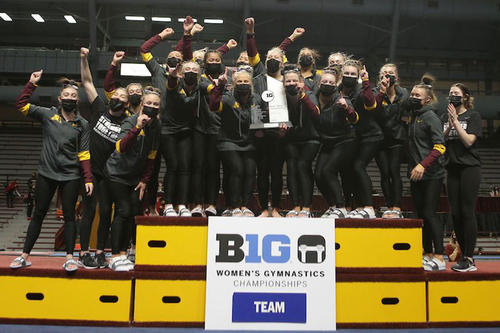 The Gopher women's gymnastics team after winning the Big Ten title.