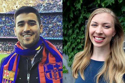 Arman Shahriar, in colorful scarf and TCF Bank Stadium, and Sylvia Blomstrand, long blonde hair.