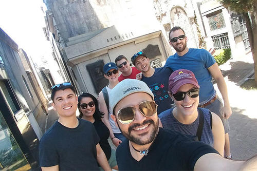 Izaak Mendoza and his fellow study abroad students.