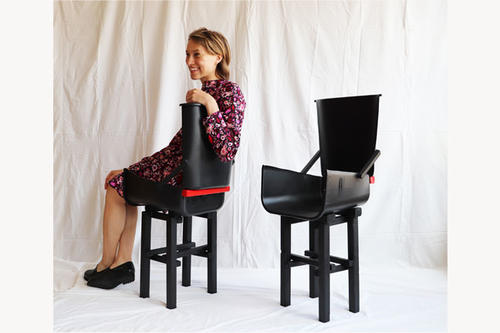 Josephine Howell in one of her garbage can chairs