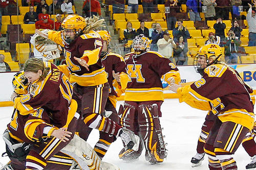 The Gopher women's hockey team celebrates a championship.