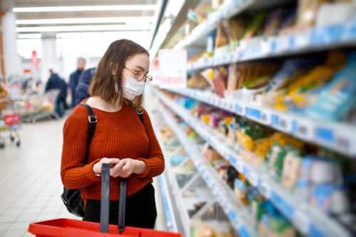 Young woman grocery shopping with face mask.