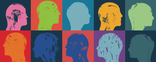 A painting with 10 sections, in two rows of 5. Each section has the profile silhouette of a person's head with no details, just a solid color filling in the form with a second solid color in the background to create a contrast.