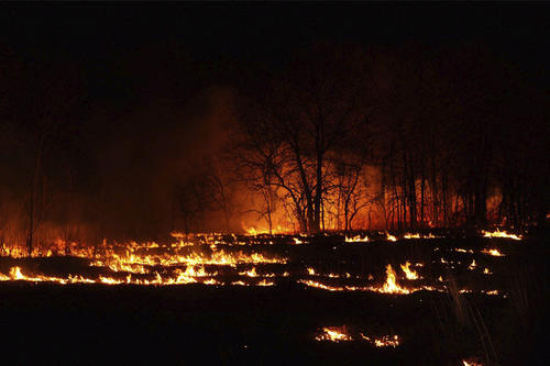controlled burn at night