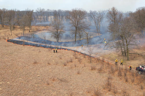 aerial view of controlled burn being executed